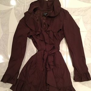 Brown Ruffle Detailed Trench Coat